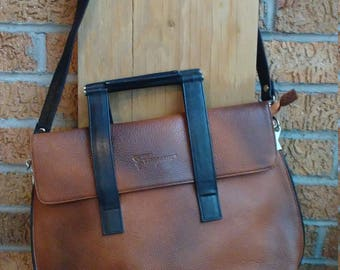 Vintage Savatore Ferragamo Leather Messenger bag Two Tone