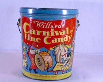 Willard's Carnival Time Candy Tin Pail