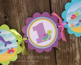 Personalized Scalloped Word Banner -Ocean Friends -Birthday -Baby Shower -Party Banner -Photo Prop -Under the Sea -Sea Animals -Ocean Party
