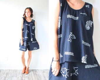 Vintage boho black southwestern two piece dress // M sleeveless black navajo black print dress // seahorse dolphin fish starfish // modest