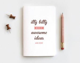 Midori Travelers Notebook Size - Itty Bitty Book of Awesome Ideas - Fauxdori Journal & Pencil Stocking Stuffer Recycled