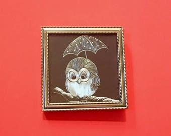 Vinatge 60s 70s Miniature Foil Art Owl Picture
