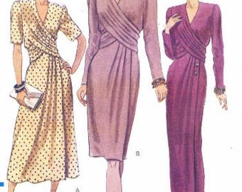 90s Womens Day Dress or Evening Gown with Draped Overlay V Neckline Vogue Sewing Pattern 7939 Size 12 14 16 Bust 34 36 38 UnCut