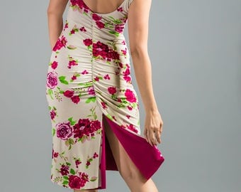 MIMOSA Floral Print Tango Dress. Reversible floral Dress. Flower Print Pin Up dress.  Low Back Dress with Tail.