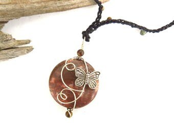 Wire Wrapped Butterfly Pendant / Monarch Lover Totem Necklace Gift, Gemstone Focal Jewelry, USA Artisan Handmade Jewelry, Organic Minimalist