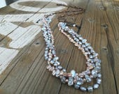 Bohemian Triple Layer Keishi Pearl Necklace, Silver Loopy Chain, Freshwater Pearls, Relic Coin, Bohemian Necklace