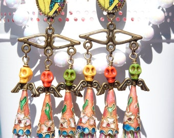 FREE SHIPPING Day of the Dead Resin Chandelier Earrings - Mexican Art - Colorful - Halloween - Dia De Los Meurtos - Skeleton - Skull -Flower