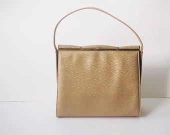 Vintage 1950s Gold Handbag / 50s Top Handle Bag/Structured Gold Purse|Vintage Winter Wedding Handbag|Bridal Gold Purse|Gold Statement Bags