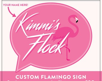 Customized Flamingo Flock Sign PDF | You Provide Your Custom Text and We Provide 1 Customized PDF