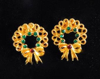 Vintage Avon Christmas Wreath Pierced Earrings, 1990s