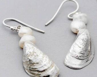 Sterling Silver Mussel Pearl Earrings