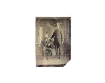 Vintage Tintype Photo of Two Men / Civil War Era Tintype Photograph