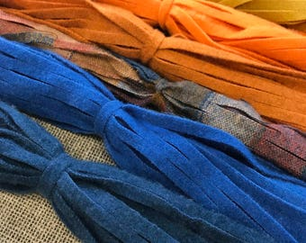 Sunset Skies - 150 #8 Sized Primitive Hand Cut Wool Strips for Rug Hooking