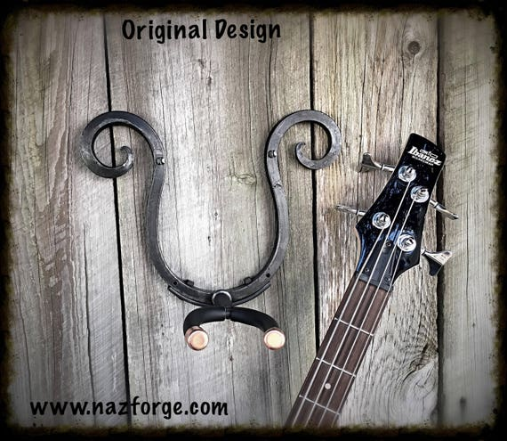 Guitar Hook Hand Forged with Copper accents - Original Design by Naz Forge - Heavy Duty - Gift for Guitarist - Industrial Metal Hook Hanger