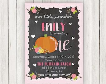Pumpkin Invitation   Pink Pumpkin first Birthday Invitations   Pumpkin Bash   Fall Birthday Party Invites   Our little Pumpkin Invite