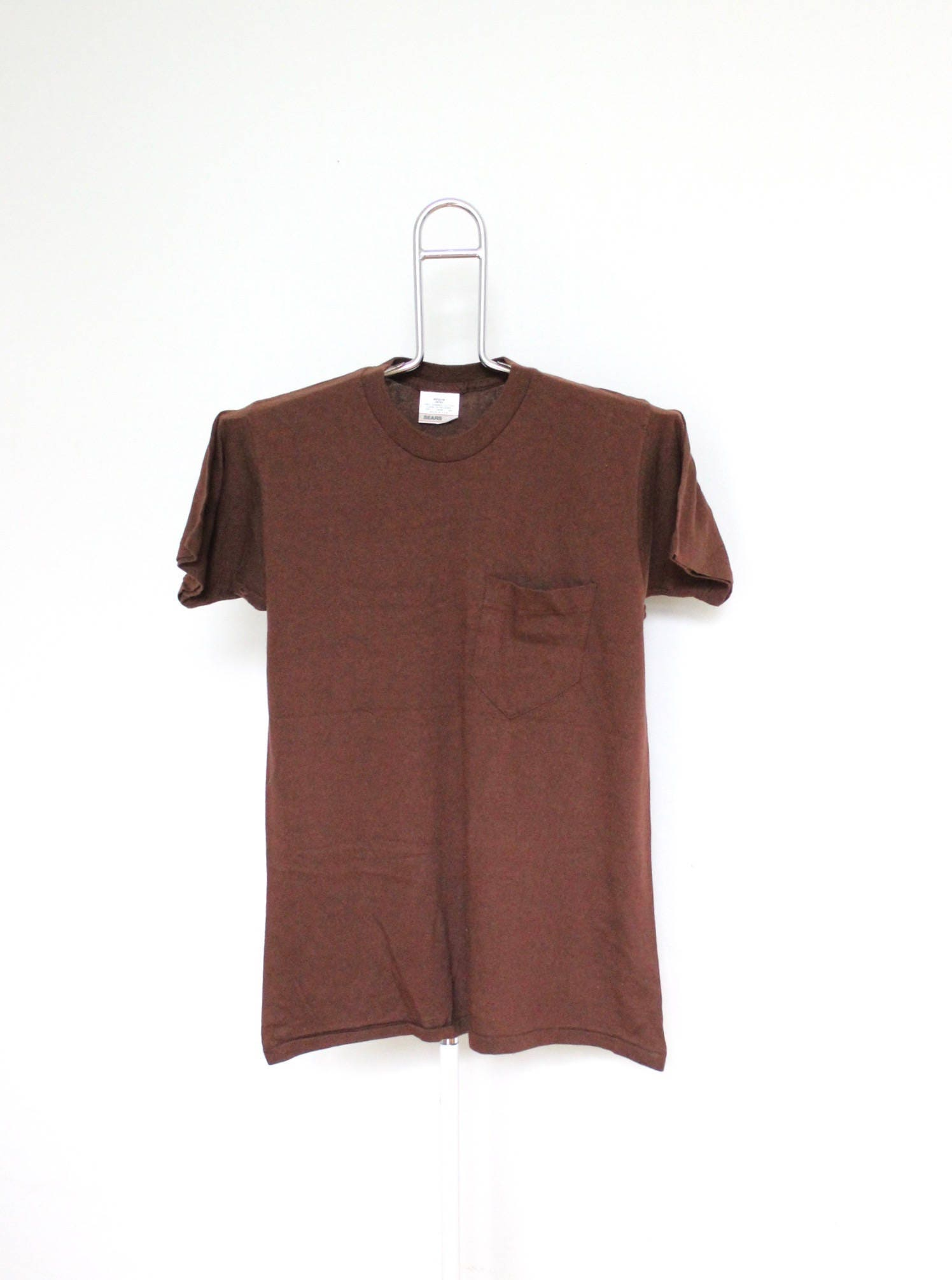 Chocolate brown plain pocket t shirt mens small unisex womens for Mens chocolate brown shirt