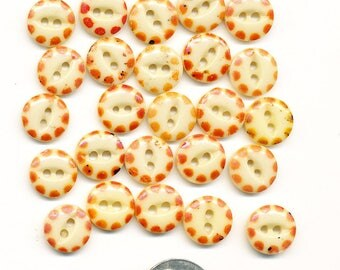 Vintage Antique China Stencil Buttons - Lot of 25 Orange Dots on Cream   - size 7/16 inch
