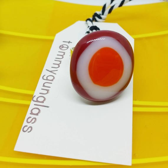 Red on Red Glass Adjustable Ring