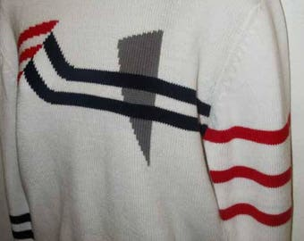 80s Prepster Bold Graphic Abstract Sweater Red White Blue
