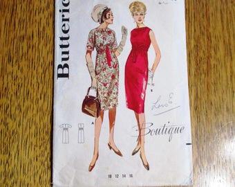 """MOD 1960s Empire Line Shift Dress - {Designer BOUTIQUE Sheath} - Size 14 (Bust 34"""") - VINTAGE Sewing Pattern Butterick Boutique 2801"""