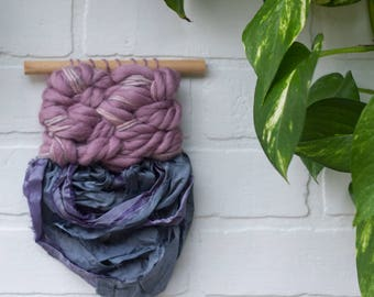 Woven Wall Hanging | Small Weaving with Sari Silk Fringe | Modern Fiber Art