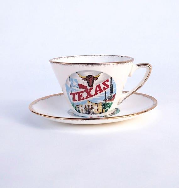 Vintage 1960's Texas Souvenir Teacup and Saucer Set