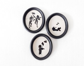 3 Vintage Handmade Cut-out in a Frames with Kids Playing