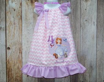 Sofia the First Birthday Dress / Pink Chevron + Lavender / Personalized / Princess / Disney / Newborn / Infant / Baby / Girl / Toddler