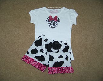 Minnie Mouse Outfit / Ruffle Shorts + Shirt / Cow Print & Pink Bandana / Disney / Birthday / Newborn / Infant/ Baby/ Girl/ Toddler/ Boutique