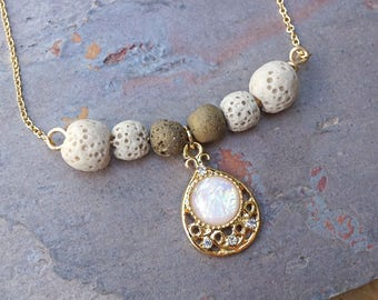 Opal Gold Aromatherapy Necklace Essential Oil Diffuser Necklace Lava Stone Druzy Necklace