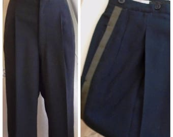 Vintage 1940s Men's Pants Black Tuxedo Pants Formal Watch Pocket Palm Beach 32 x 33