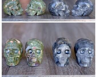 RESERVED - Rainforest Jasper Crystal Skull Pair