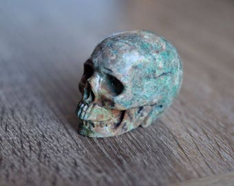 African Turquoise Stone Carved Crystal Skull