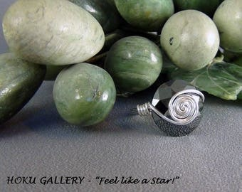 Wirewrapped Ring - Swarovski Jet Black Button, Sterling Silver Wire  - Size 8.5 - Hand Crafted Artisan Jewelry