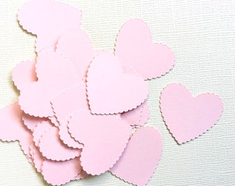 100 Pink Scalloped Heart Confetti,  Party Decor, Weddings, Showers, Baby, Die Cuts