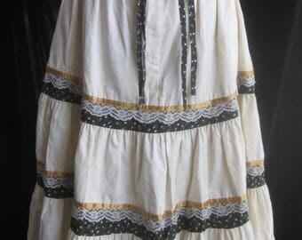 Vintage Sz 9 Gunne Sax Tiered Prairie Skirt Jessica's Gunnies 1970s