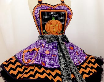 Halloween Jack O Lanterns and Spiders, Oh My! Pin Up Apron- Ready To Ship, Halloween Party