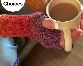 Fingerless Gloves -Wool Arm Warmers -Texting Gloves -Hand Knit Gloves - Winter Accessories -Boho Knit Gloves - Made to Order - 10 Colors