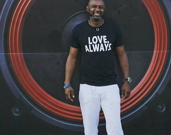 Mens Black Tee - Size XL - Vintage Black Screen Print Shirt - Soft Athletic T-Shirt - Love Always - Charity Donation - Love Graphic Tee
