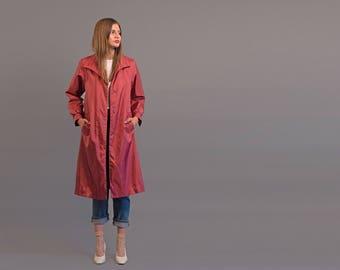 Vintage 80s Quilted Coat / Rain Jacket / Fuchsia Coat / Light Winter Coat Δ size: XS/S