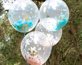 Set of 4 - Clear Confetti Balloons | Pink and Gold Confetti Balloons | Blue and Gold Confetti Balloons