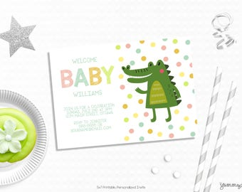 Personalized Printable Crocodile Invitation - Crocodile Baby Shower Invitation Favor Tag or Printable Party First Birthdays, Baby Showers