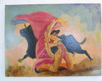 Vintage Matador Bullfighter Oil Painting Bull Fighting Spanish Mexican Wall Art Hanging Signed