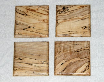 Handmade Fancy Figure Curly Spalted Maple Four Piece Wooden Coaster Set Ships Free in the USA