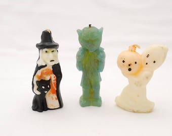 Vintage 1950's Gurley Halloween Candle Set - Witch - Ghoul - Ghost