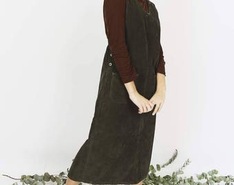 Printed Khaki Corduroy Pinafore Dress