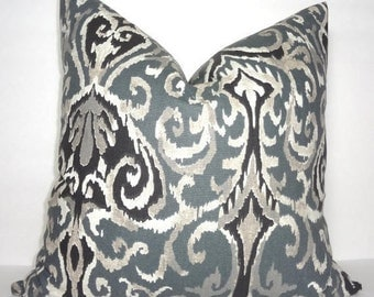 INVENTORY REDUCTION Charcoal Grey & Black Ikat Print Pillow Cover Decorative Ikat Design Pillow Cover 18x18