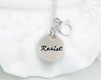 Resist Necklace - Pink Pussy Hat Necklace - Feminism - Trump Resistance - Progressive - Liberal - Resistance - Womens March - Cat Charm