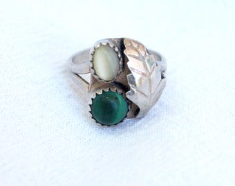 Malachite Ring Size 6 Green Stone White Mother of Pearl Southwestern Jewelry Vintage Jewelry