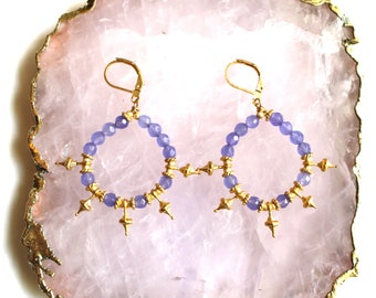 Gold and PURPLE Jade drop earrings